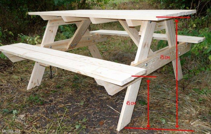 Дачный стол из дерева размеры
