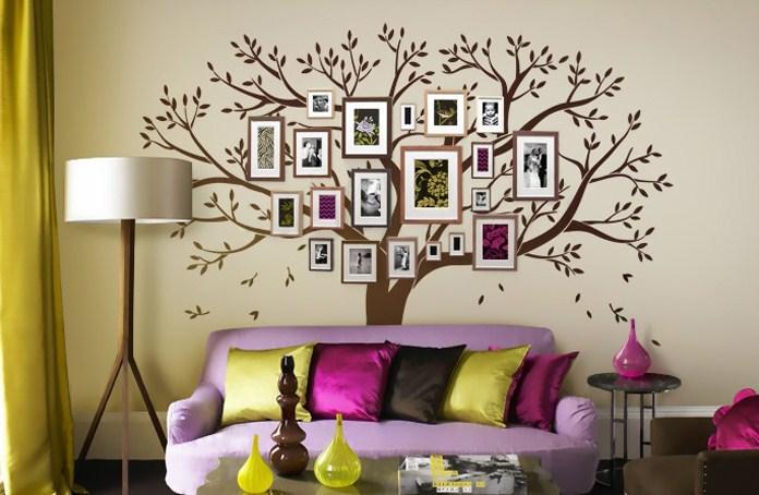 Нарисованное дерево в интерьере на стене своими руками