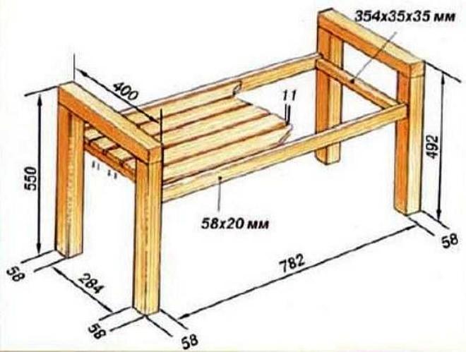 Монтаж деревянной скамейки