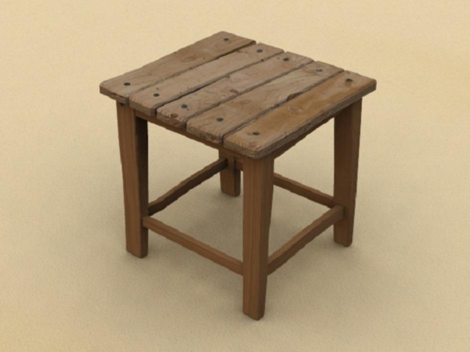 Простой деревянный табурет