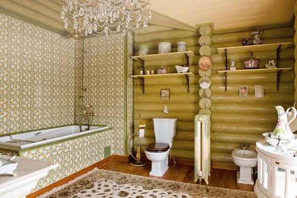 ванная в деревянной доме