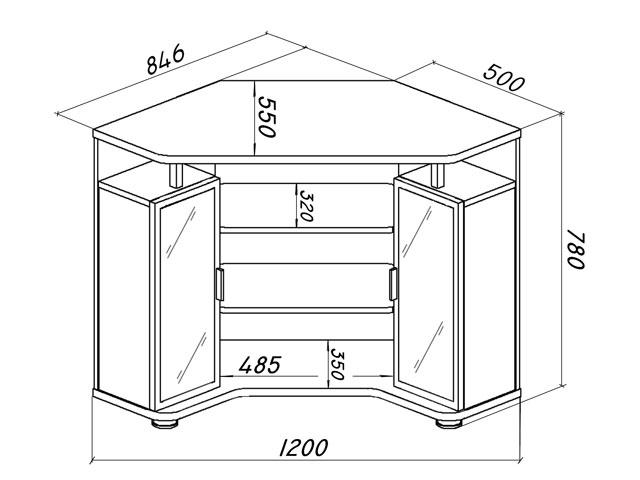чертеж тумбочки под телевизор
