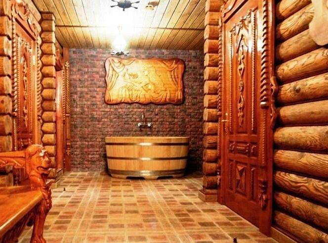 деревянные двери в банный комплекс