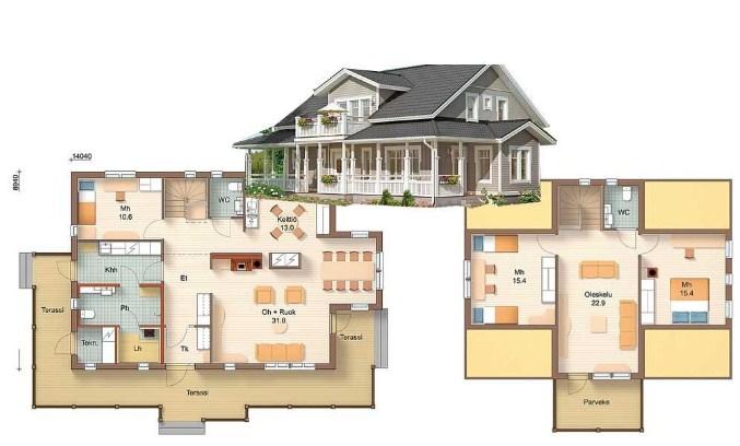 дом из бревна планировка